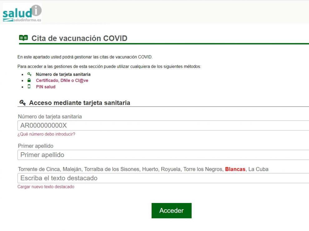 Salud Informa, la web donde se puede pedir cita para la vacuna covid en Aragón.