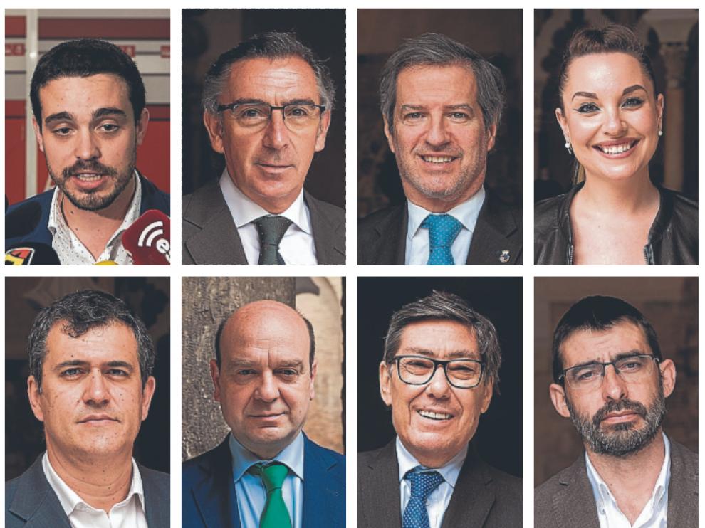 De izquierda a derecha, y de arriba a abajo: Darío Villagrasa, L. M. Beamonte, Daniel Pérez, Maru Díaz, Joaquín Palacín, Santiago Morón, Arturo Aliaga y Álvaro Sanz.