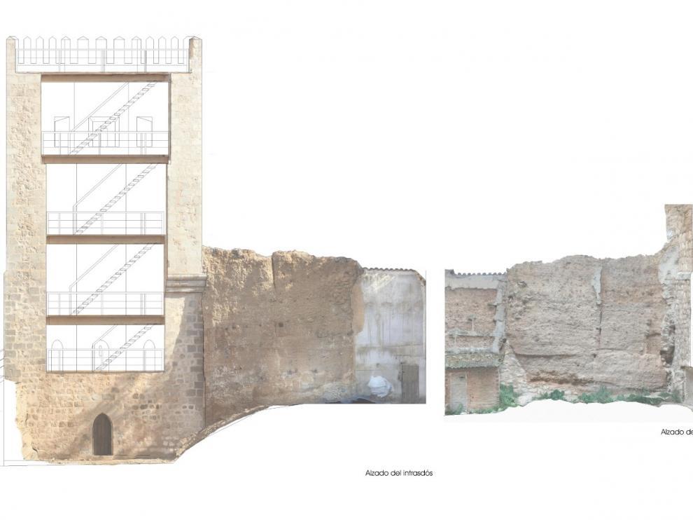 Torre de la Bombardera de Teruel y, a la derecha, tramo de la primitiva muralla de tapial.