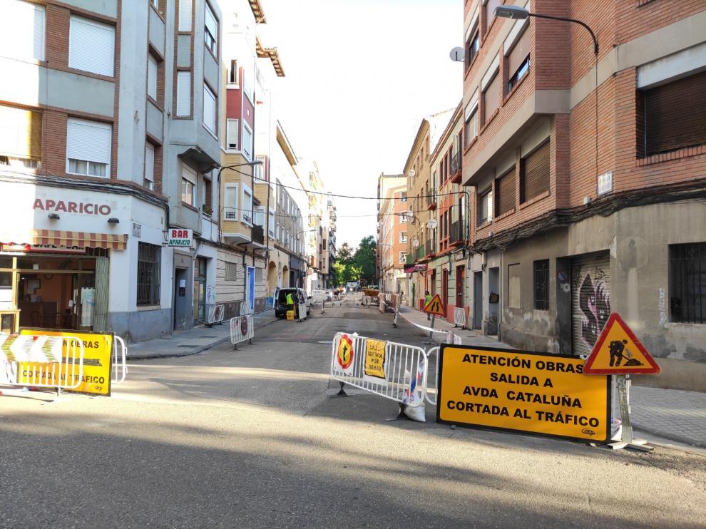 Obras en la calle Santiago Lapuente de Zaragoza