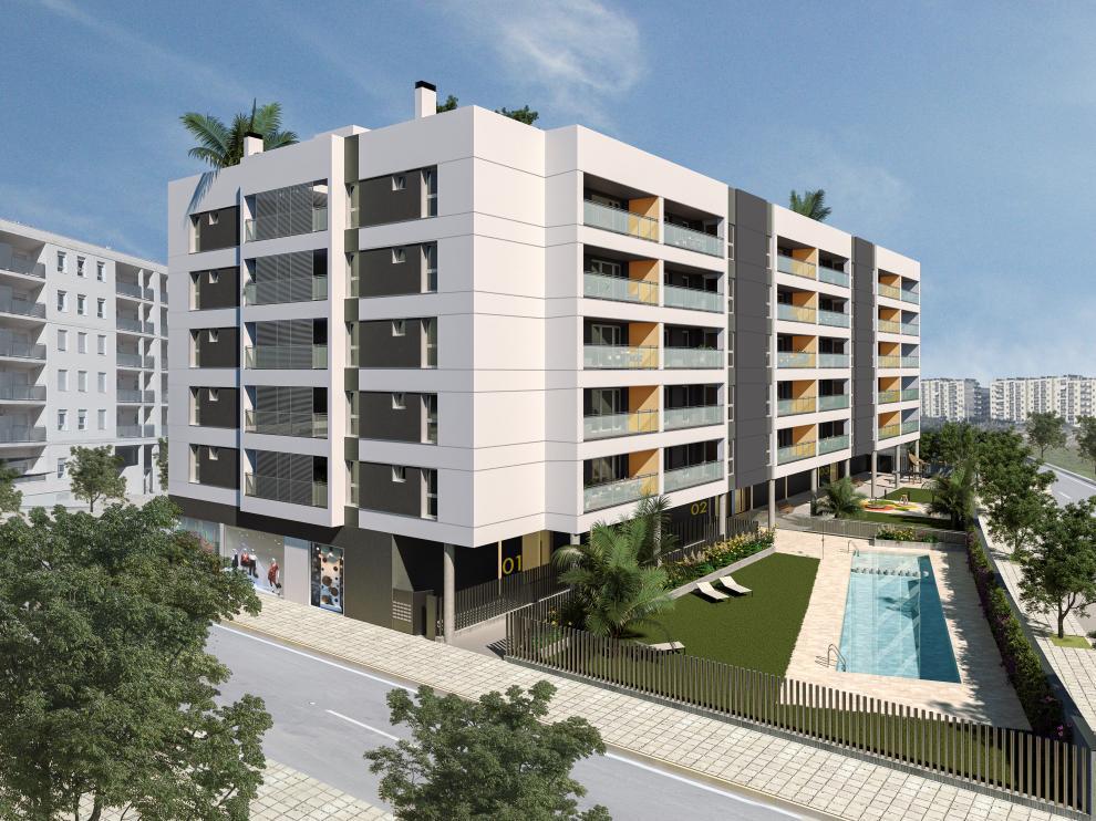 Vista general del edificio Atalaya, que dispone de viviendas de dos a cuatro dormitorios.