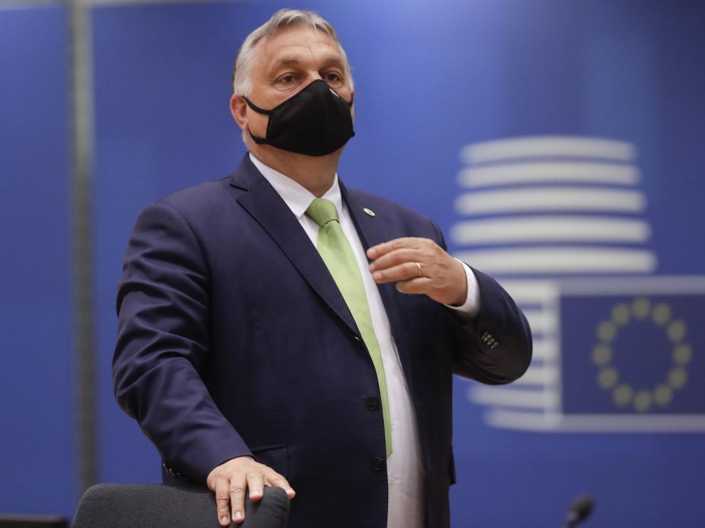 Viktor Orban, esta mañana, en Bruselas.