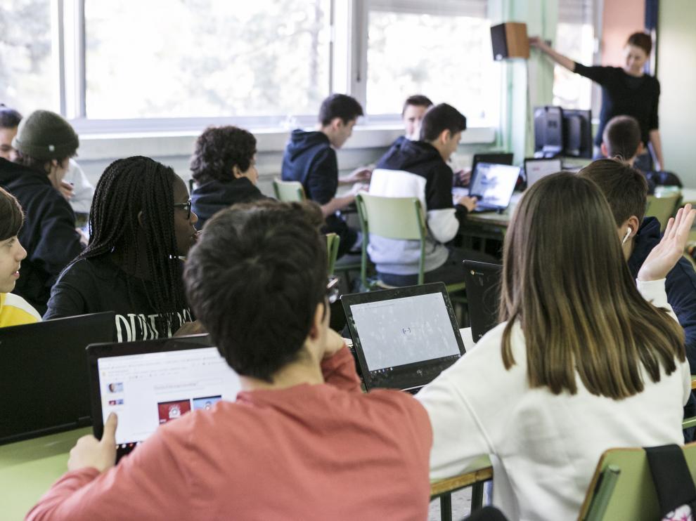 Imagen de febrero de 2020 de un examen en la Escuela de Idiomas de Zaragoza.