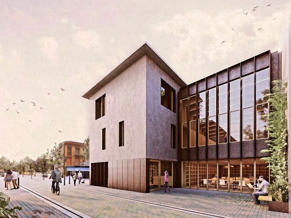 Aspecto que tendrá el edificio, con la nueva ubicación y diseño de la biblioteca municipal de Grañén.