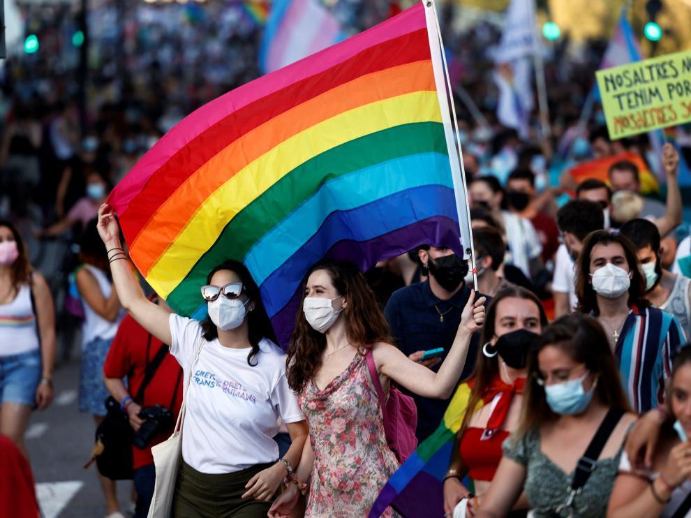 """Manifestación del Orgull LGTB+ bajo el lema """"Els drets trans són drets humans"""""""