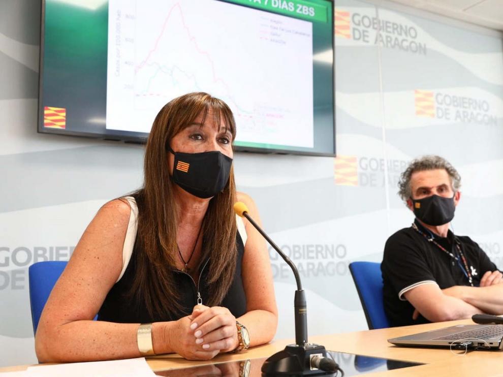 Rueda de prensa de la consejera de Sanidad del Gobierno de Aragón, Sira Repollés.