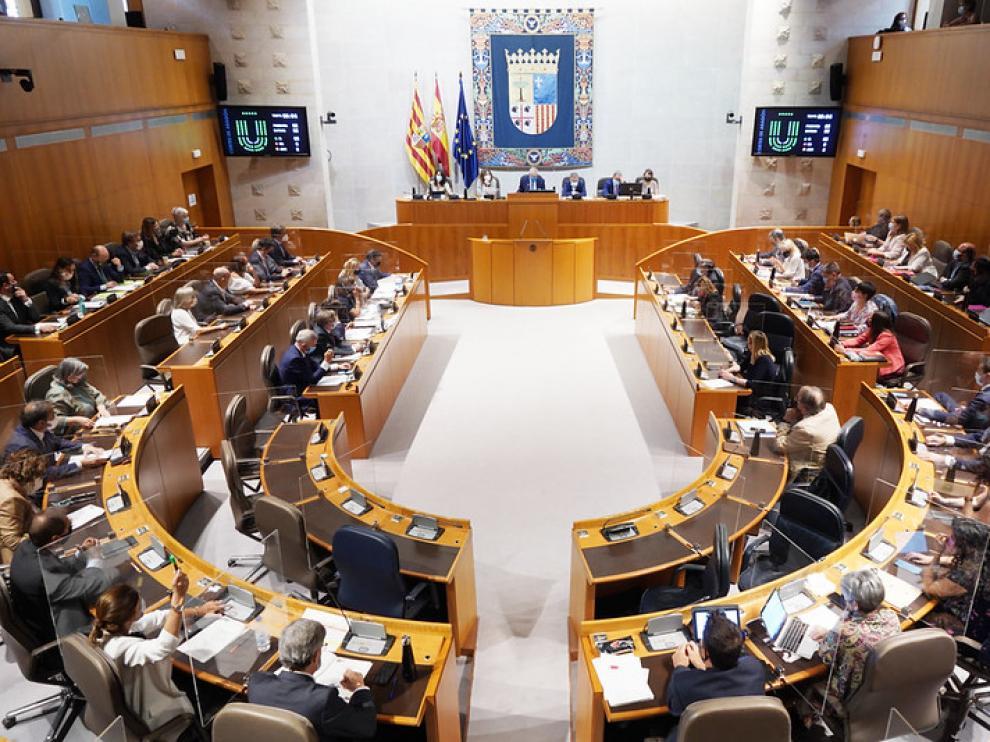 Sesión plenaria de las Cortes de Aragón de este martes