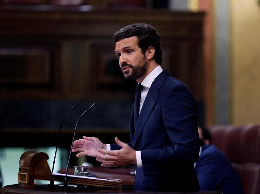 Pablo Casado, este miércoles en el Congreso.