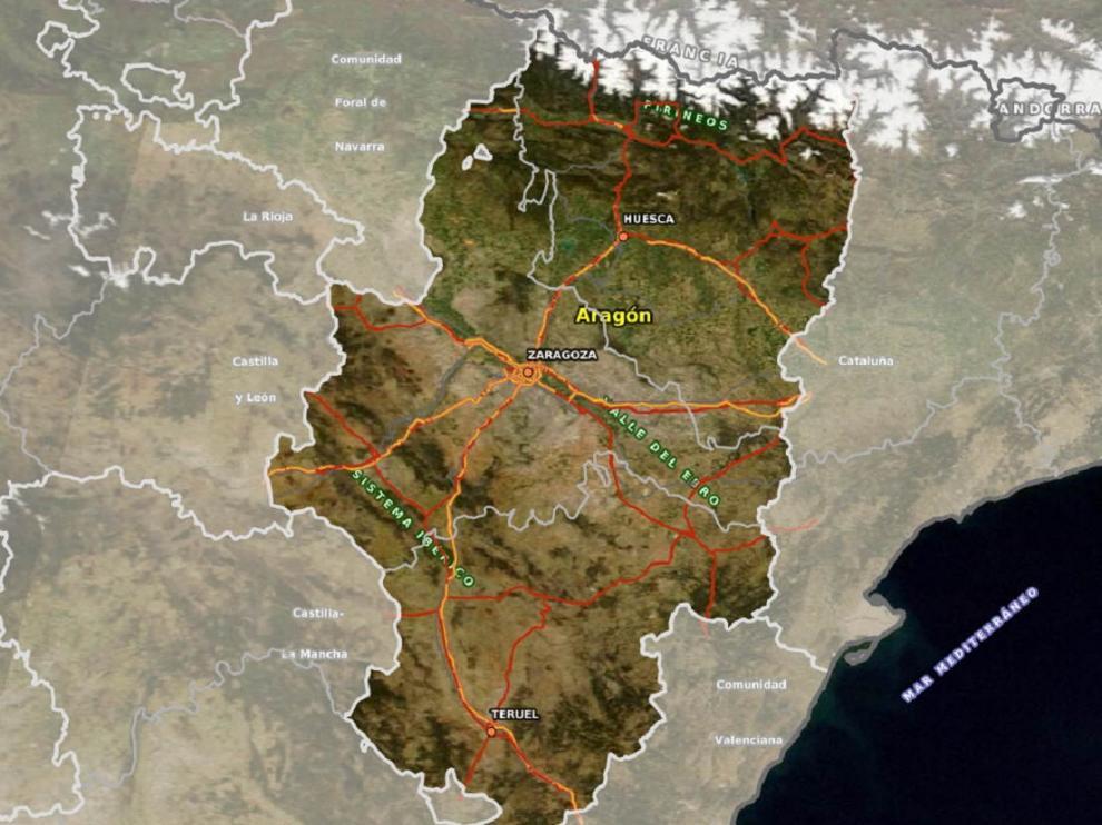 Mapa de los senderos turísticos en Aragón en el Visor 2D de IGEAR