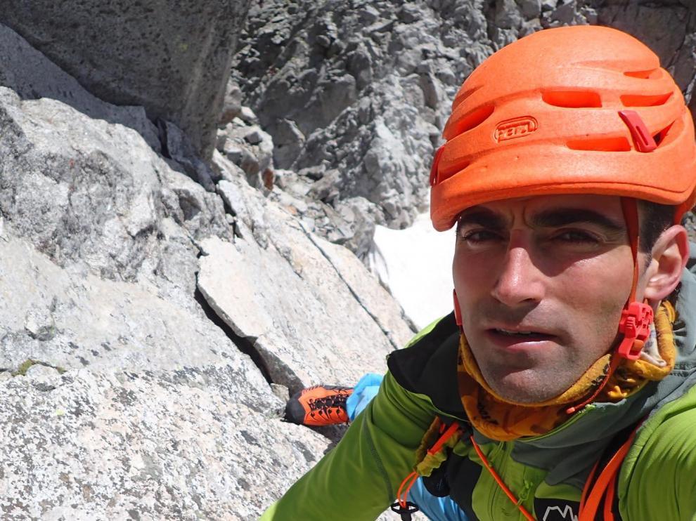 Jonatan García, durante su último reto en el Pirineo.