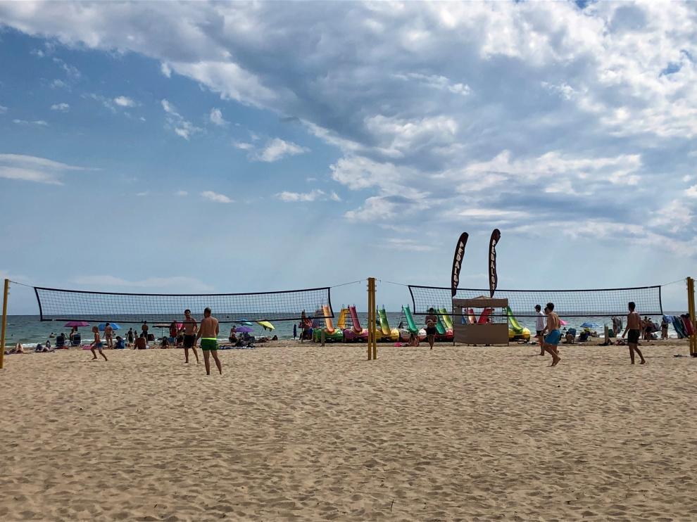 Parque de calestenia en la playa de Llevant de Salou.