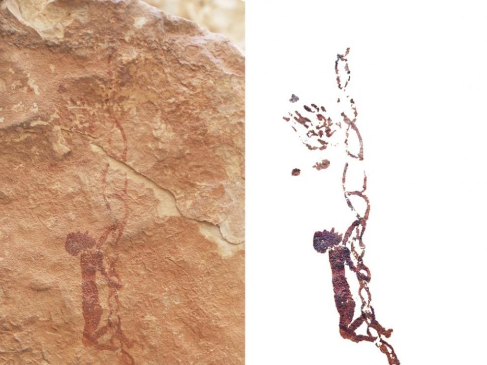 La pintura muestra a un recolector que trepa por una escala de cuerdas en busca de la miel de una colmena.