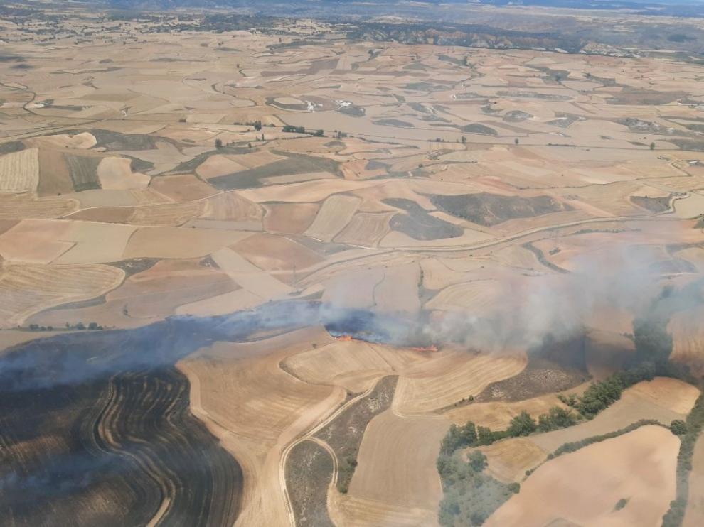 El fuego, que se ha propagado con rapidez por el fuerte viento de la zona de Bordalba