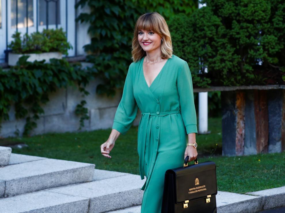 Pilar Alegría, a su llegada al Consejo de Ministros este martes