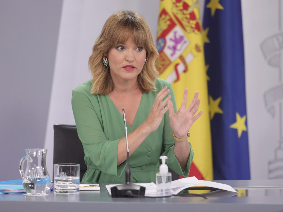 Rueda de prensa de Alegría como ministra de Educación