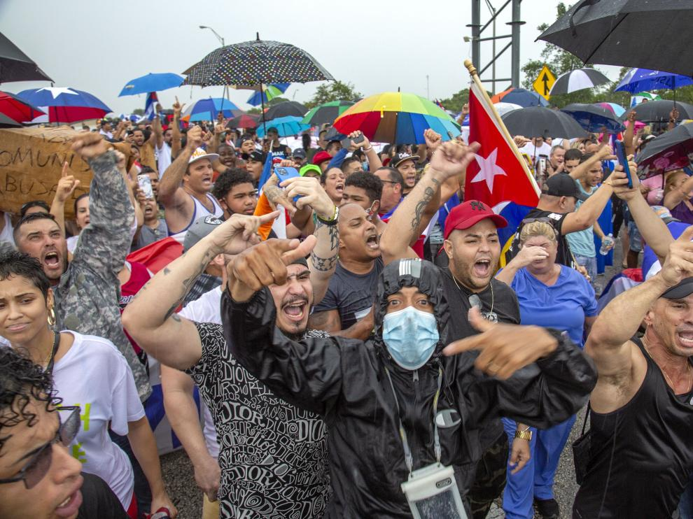 Cuban-Americans attend a demonstration to support the protesters in Cuba