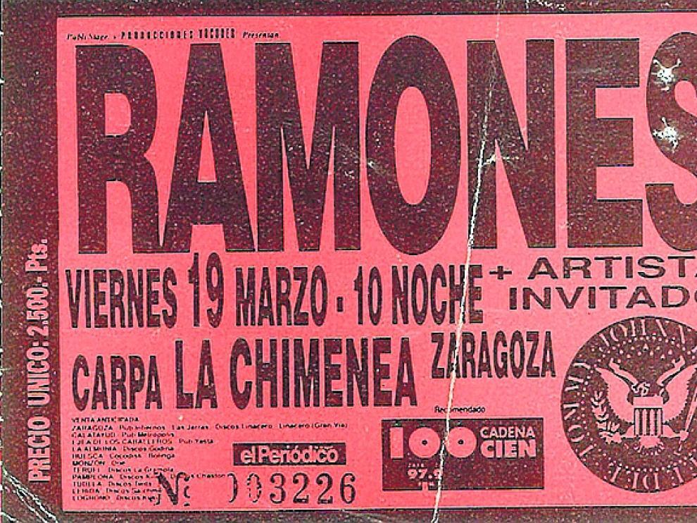 Entrada del concierto de Ramones en Zaragoza (1993)