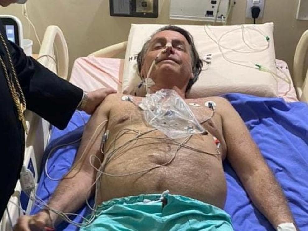 Brazil's President Jair Bolsonaro at the armed forces hospital (HFA) in Brasilia