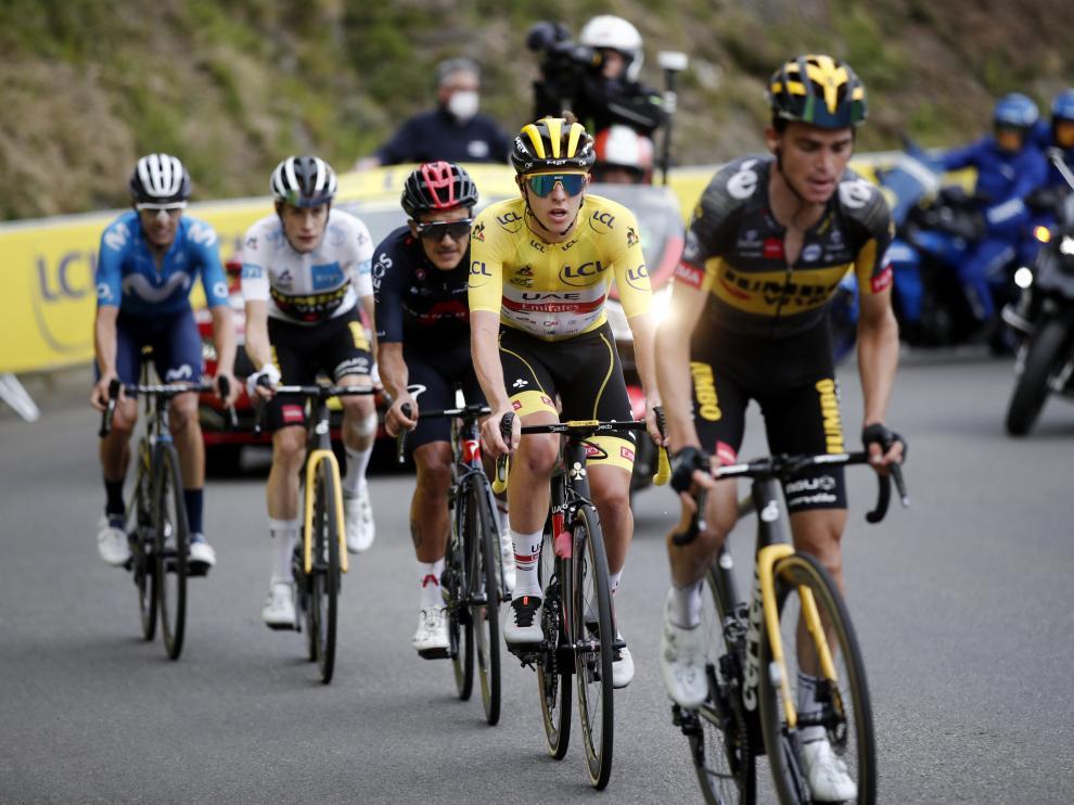 Pogacar y Enric Mas en la etapa del Tourmalet
