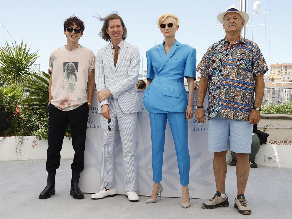 Timothee Chalamet, Wes Anderson, Tilda Swinton y Bill Murray, estos días en Cannes