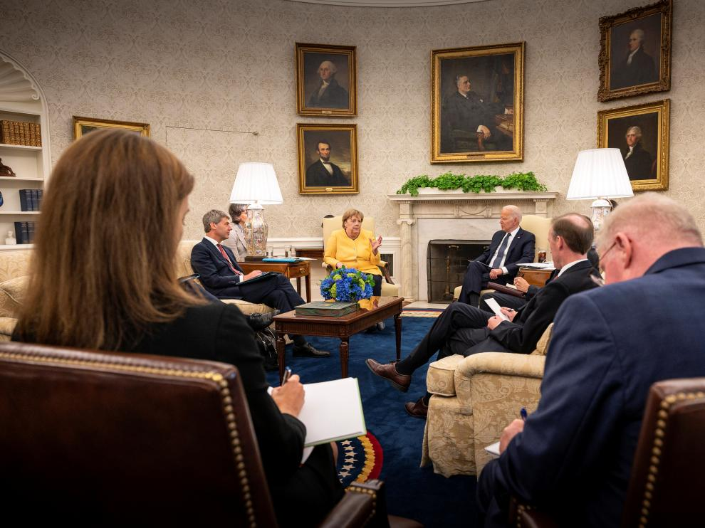 U.S. President Biden holds a bilateral meeting with German Chancellor Merkel in the Oval Officeat the White House in Washington