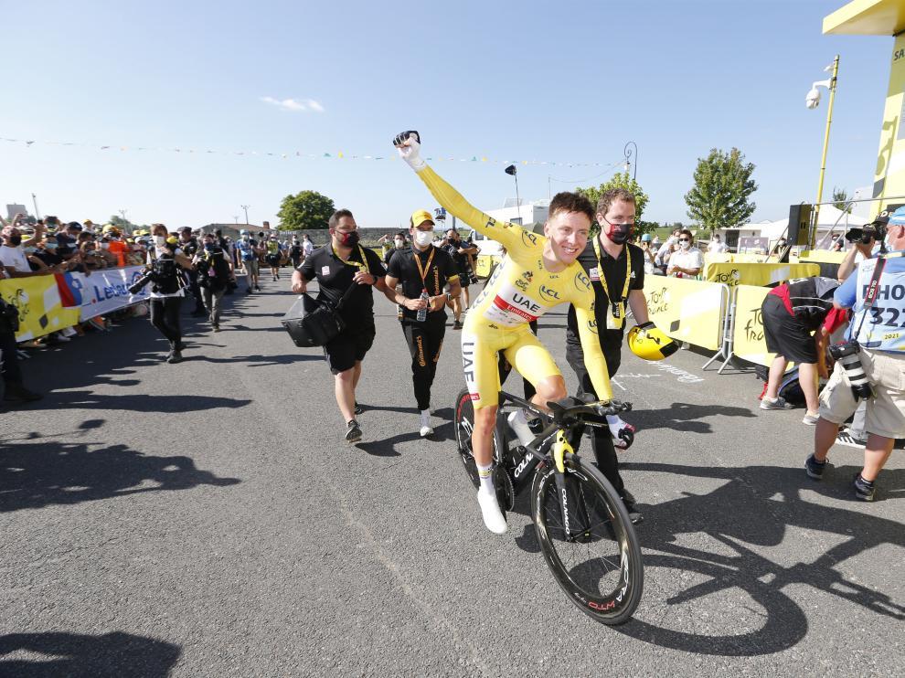El ciclista esloveno Tadej Pogacar en la etapa de este sábado.