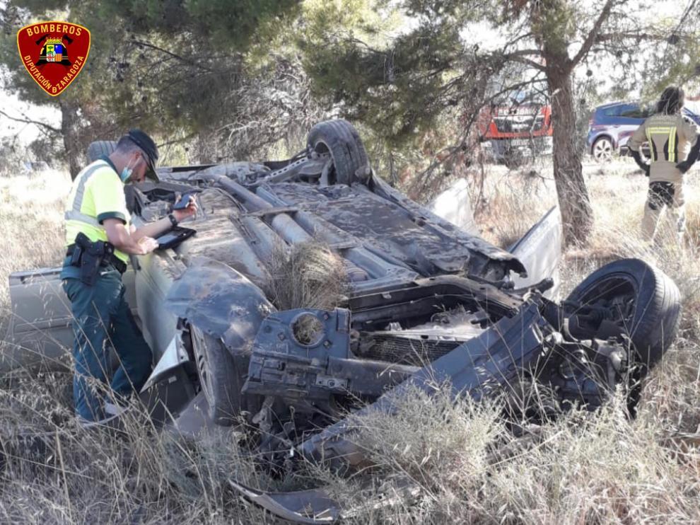 Un herido tras volcar un coche en la A-222 a la altura de Belchite