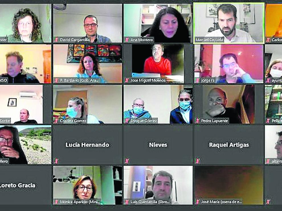Imagen del taller participativo del tramo Osera-Fuentes de Ebro, celebrado de forma 'online' por la covid.
