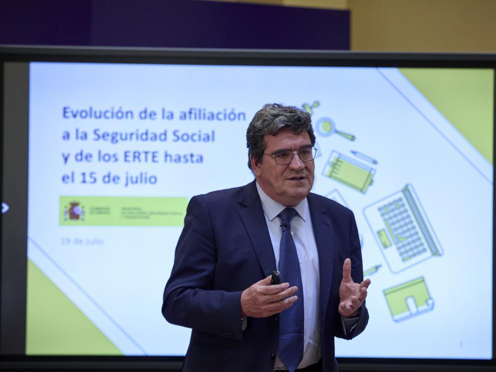 José Luis Escrivá, ministro de Inclusión, Seguridad Social y Migraciones, ayer en Madrid.
