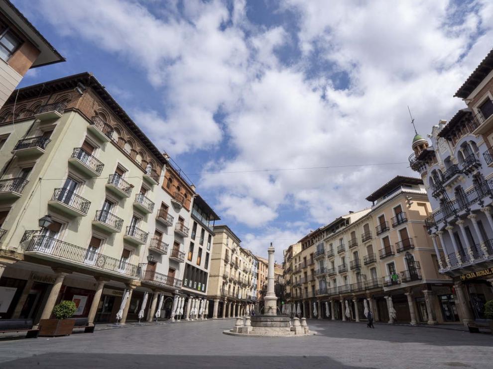 Plaza del Torico en Teruel durante el estado de alarma.