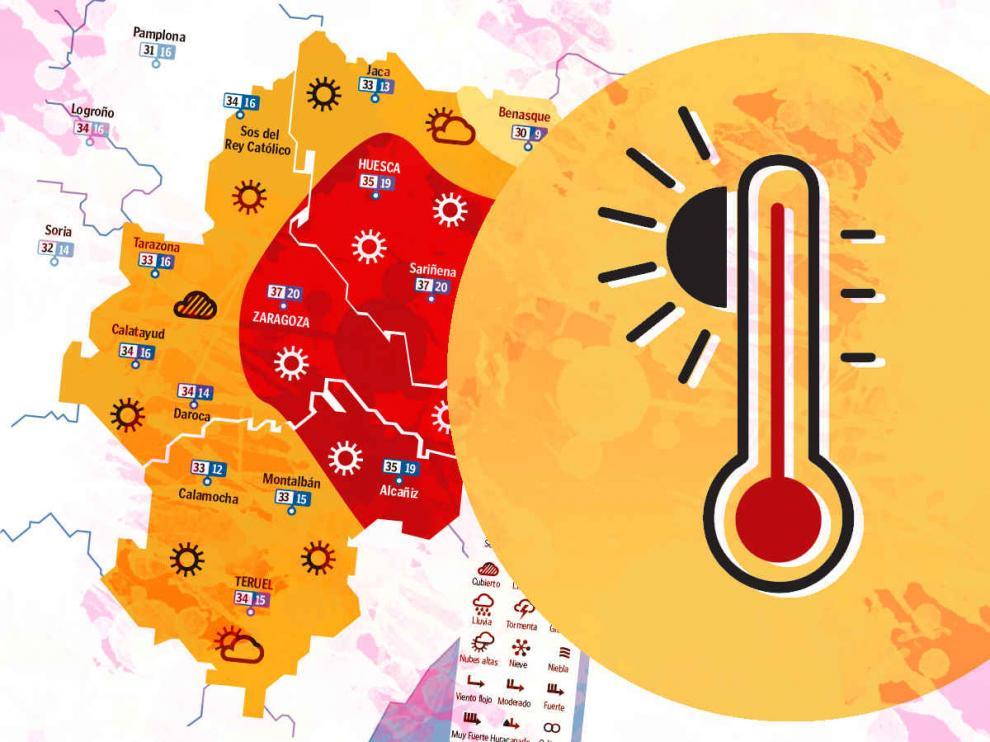 Mapa con la previsión del tiempo en Aragón.