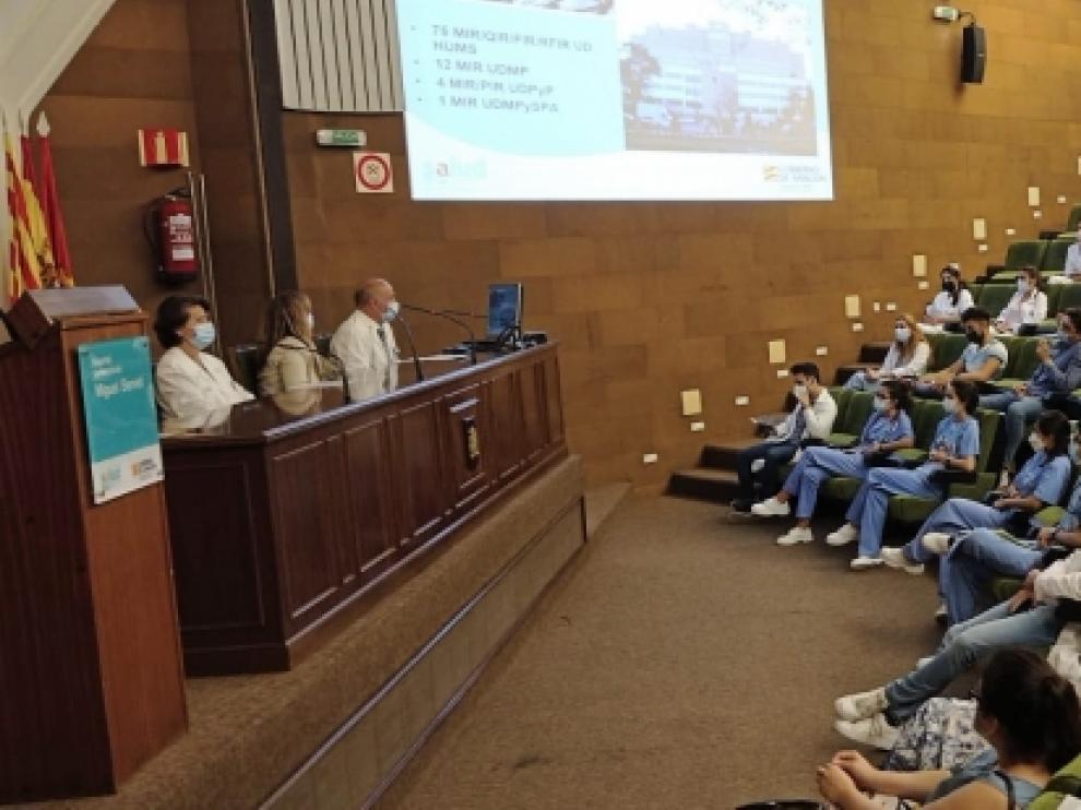 Acto de bienvenida a los residentes en el Hospital Miguel Servet de Zaragoza.