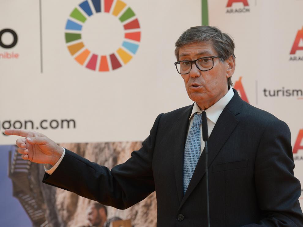 Arturo Aliaga, durante su visita a Teruel.