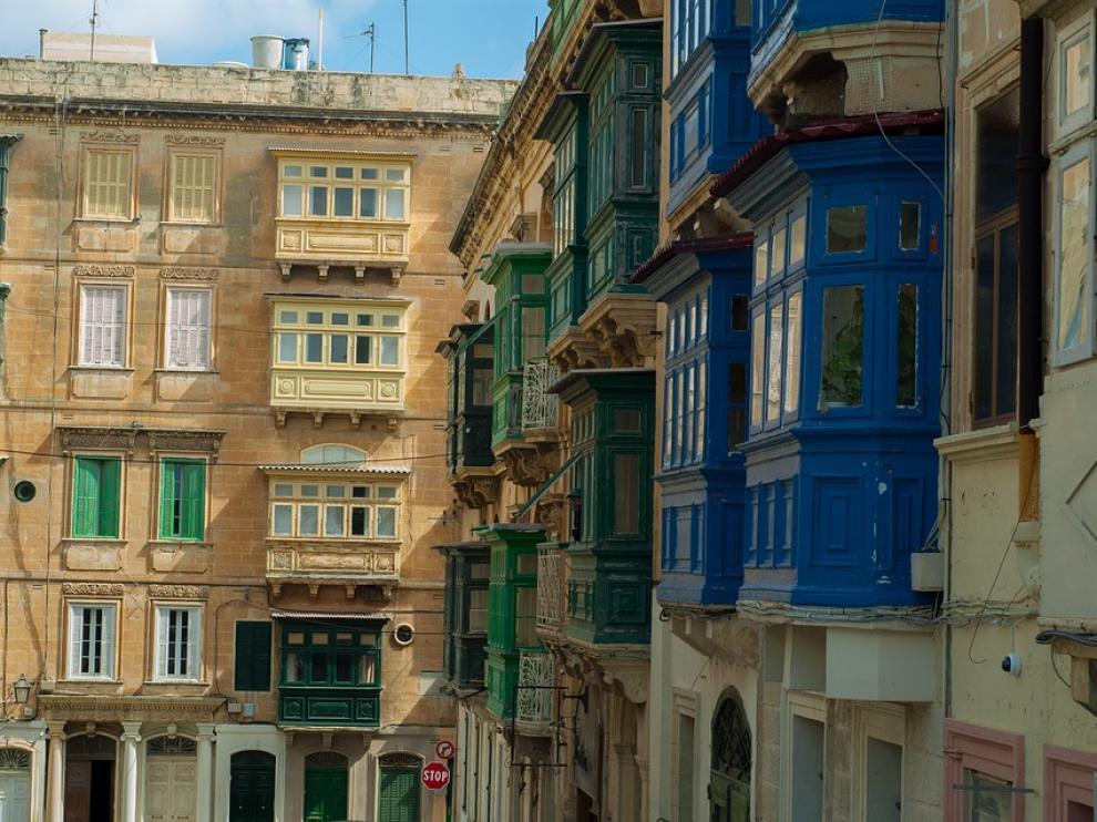 Foto de archivo de edificios en La Valeta, capital de Malta