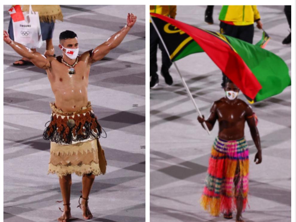 Juegos Olímpicos de Tokio 2020: Duelo de pectorales aceitosos en la ceremonia de inauguración