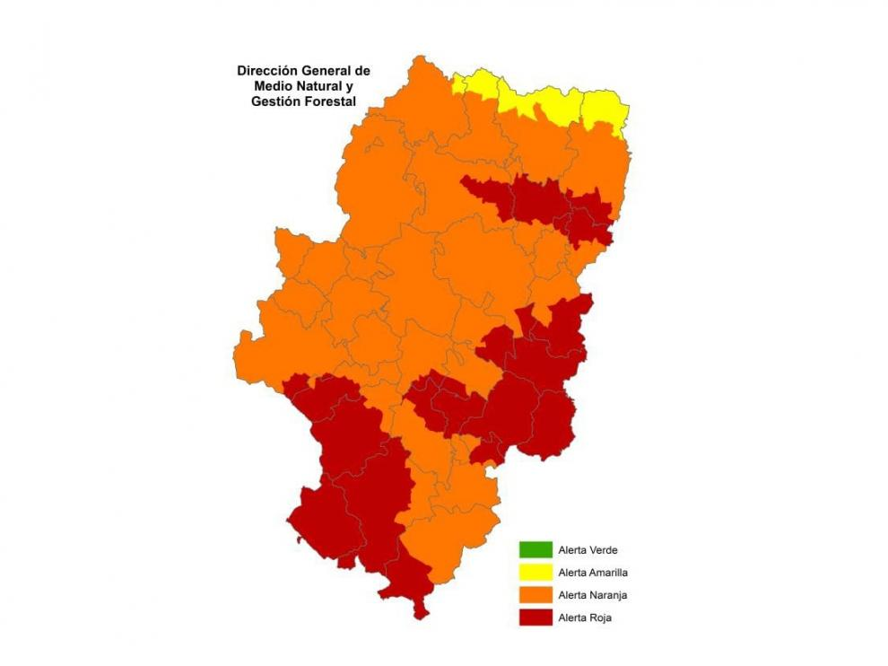 Alerta roja de peligro de incendios forestales en Aragón.