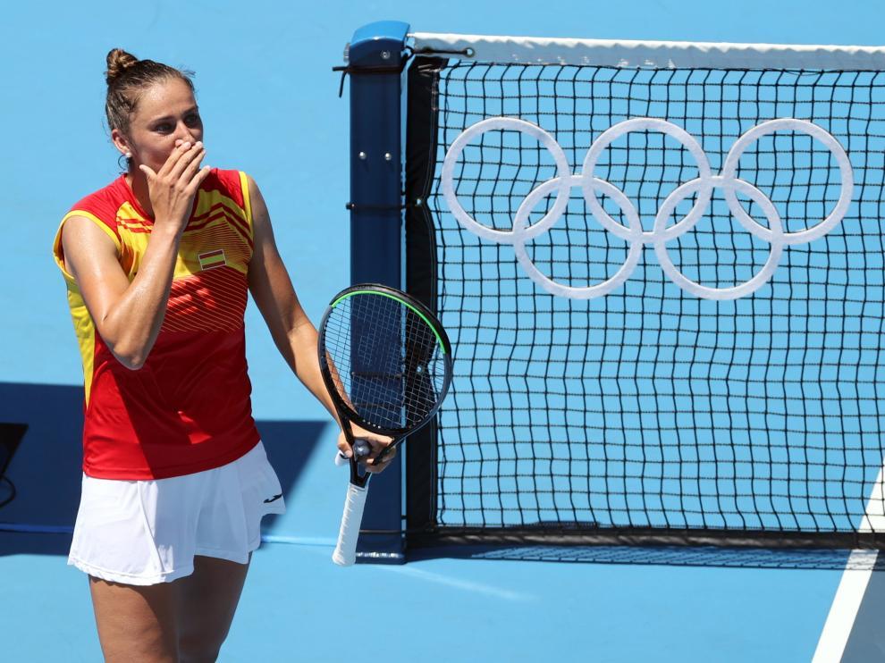 Sara Sorribes, tras ganar a la número 1 del mundo en Tokio.