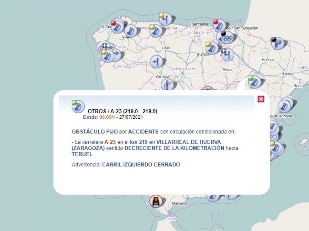 Accidente de tráfico en la A-23, a la altura de Villarreal de Huerva.