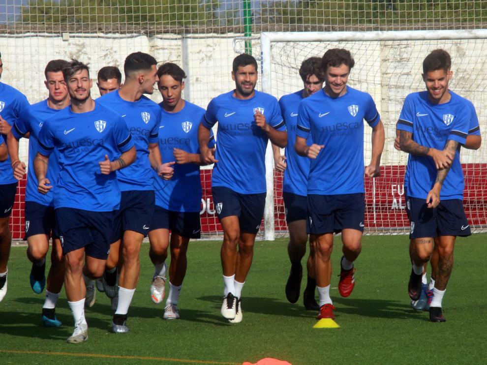 Lluís Sastre, en el primer entrenamiento del Huesca B.