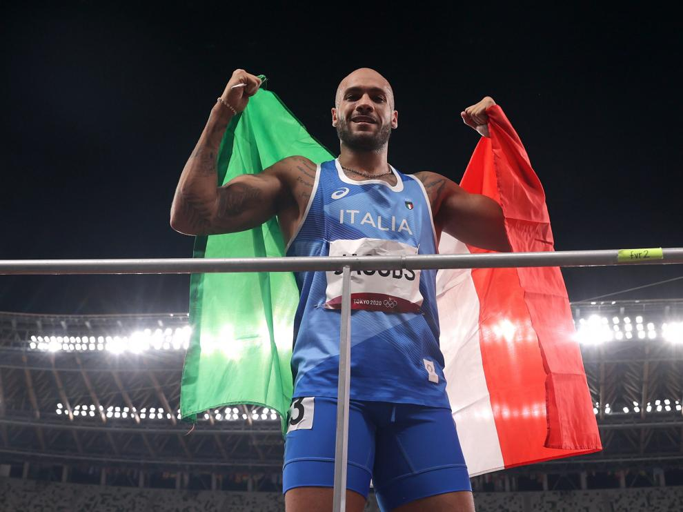 Tokyo 2020 Olympics - Athletics - Mens 100m - Final - OLS - Olympic Stadium, Tokyo, Japan - August 1, 2021. Lamont Marcell Jacobs of Italy celebrates after winning the gold medal REUTERS/Hannah Mckay[[[REUTERS VOCENTO]]] OLYMPICS-2020-ATH/M-100M-FNL