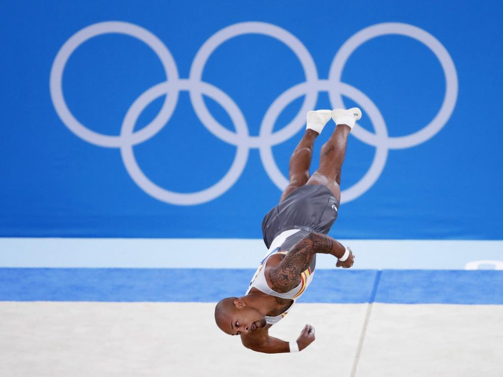 Tokyo 2020 Olympics - Gymnastics - Artistic - Mens Floor Exercise - Final - Ariake Gymnastics Centre, Tokyo, Japan - August 1, 2021.  Rayderley Zapata of Spain in action during the floor exercise. REUTERS/Lindsey Wasson[[[REUTERS VOCENTO]]] OLYMPICS-2020-GAR/M-1APFX-FNL