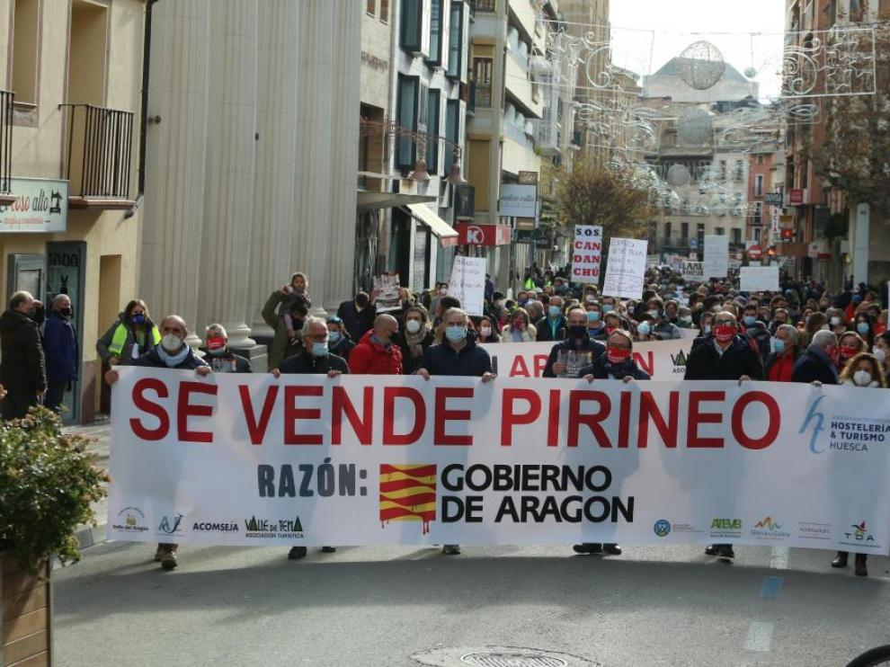 Una de las protestas celebradas el pasado invierno en Huesca por el parón del sector de la nieve.