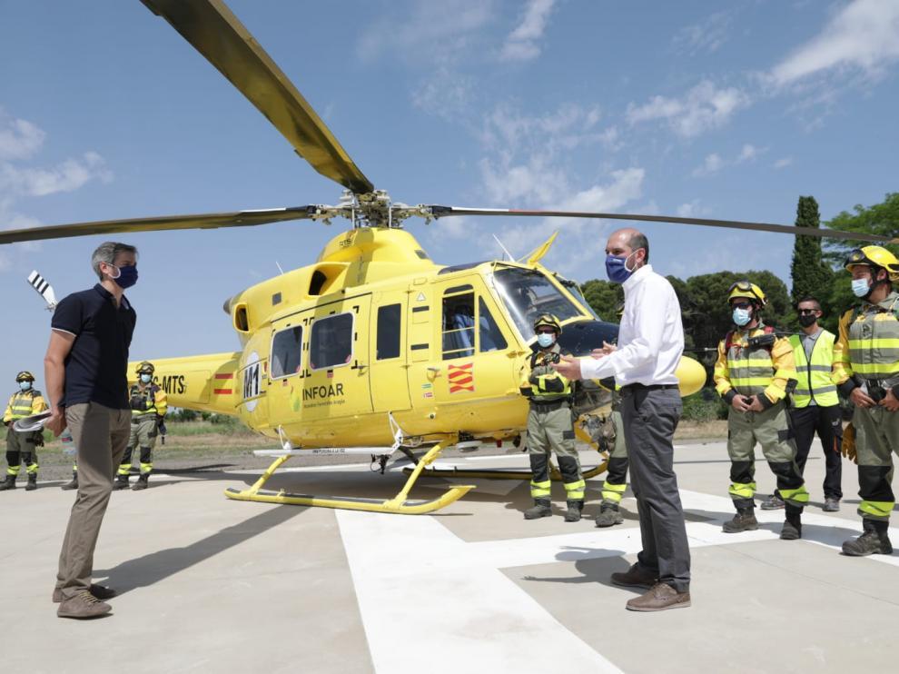 Diego Bayona, en la presentación del operativo antincendios en la helitransportada de Ejea.