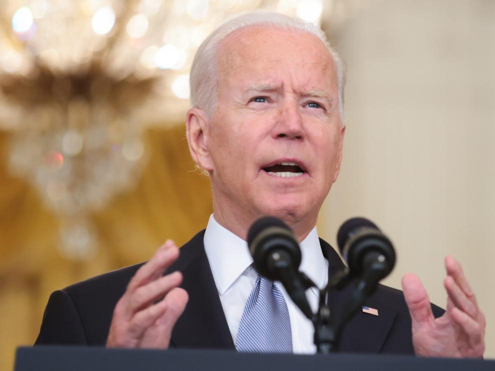 Joe Biden, este lunes en la Casa Blanca, hablando sobre Afganistán