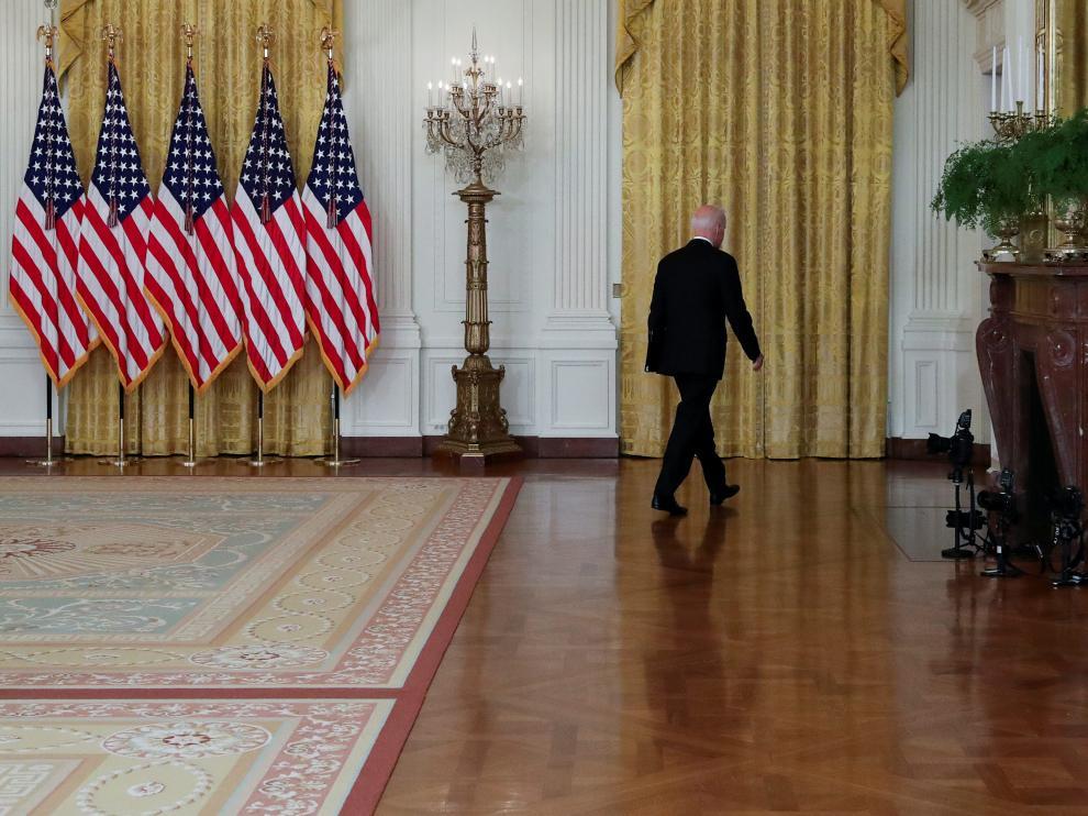 Joe Biden, ayer en la Casa Blanca tras hablar sobre Afganistán