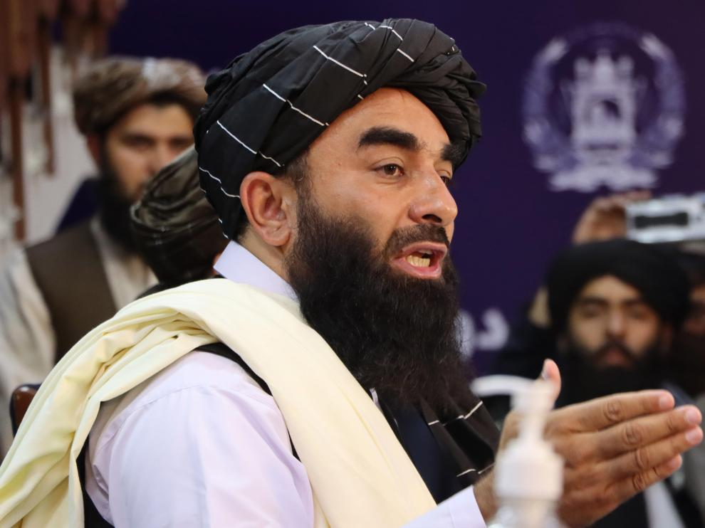 Taliban spokesman Zabiullah Mujahid press conference in Kabul