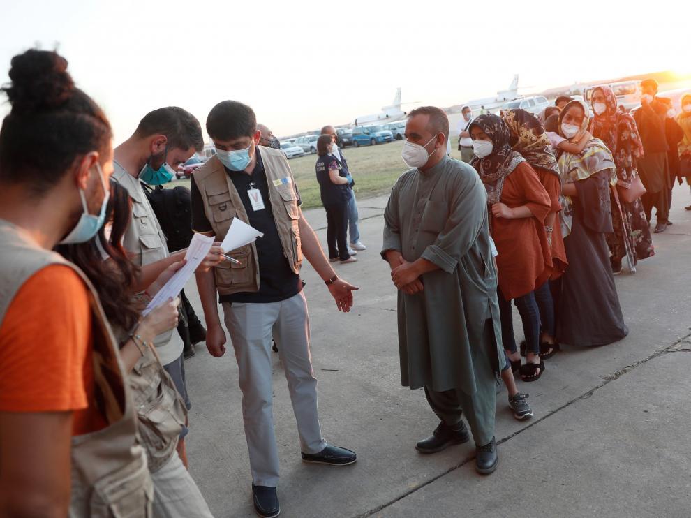 Llegada de evacuados afganos a Torrejón de Ardoz.