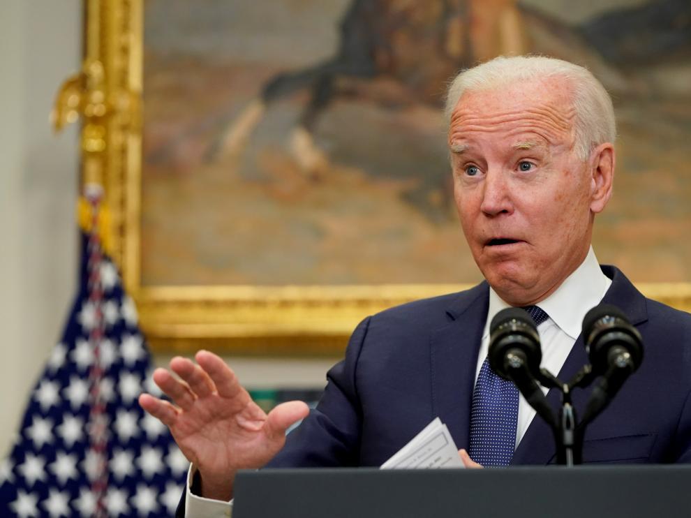 U.S. President Joe Biden speaks about Hurricane Henri and the evacuation of Afghanistan