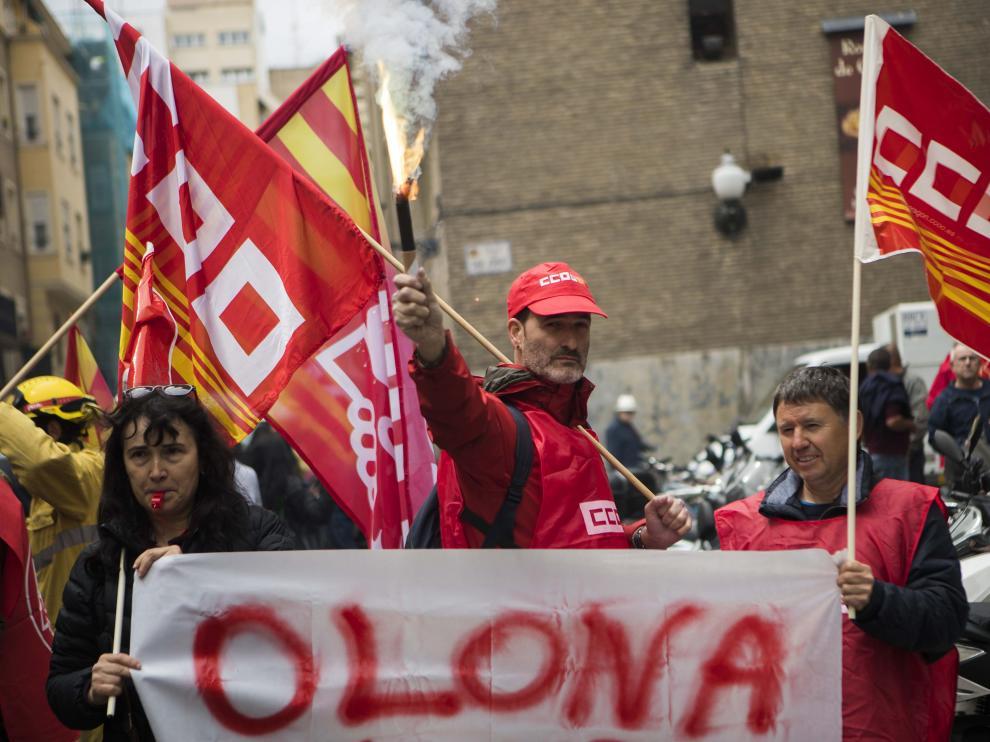 Imagen de archivo de una protesta de trabajadores de Sarga.