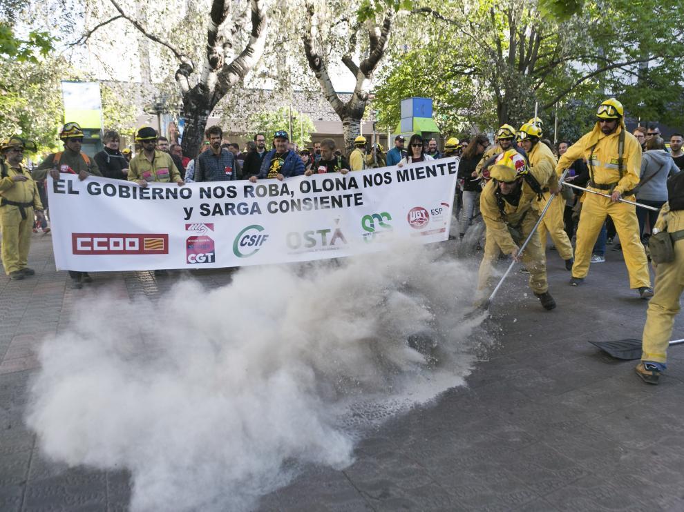Imagen de archivo de una protesta de los trabajadores de Sarga en 2019